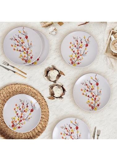 Keramika Keramika Sonbahar Tomurcuk Pasta Tabağı 20 Cm 6 Adet  Renkli
